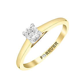 The Forever Diamond 9ct Yellow Gold 1/4 Carat Diamond Ring - Product number 2986639