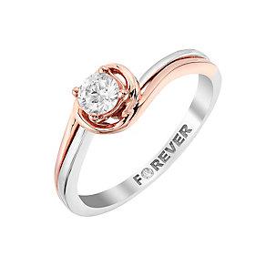 The Forever Diamond Palladium & Rose Gold Diamond Ring - Product number 2987333