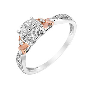 9ct White & Rose Gold Kiss Detail Diamond Cluster Ring - Product number 2987481