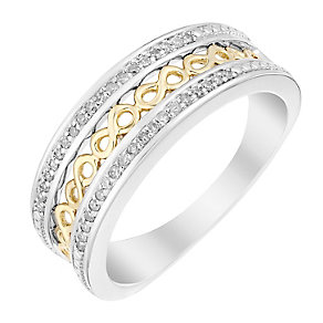 Silver & 9ct Yellow Gold Infinity Diamond Eternity Ring - Product number 2987643