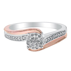 9ct White & Rose Gold Twist Diamond Cluster Ring - Product number 2987937