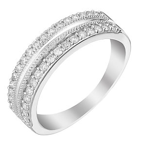 9ct White Gold Double Row Diamond Eternity Ring - Product number 2988097