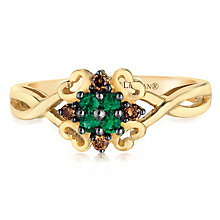 14ct Honey Gold Costa Smeralda Emerald & Diamond Ring - Product number 2988224