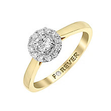 18ct Yellow Gold Forever Diamond Halo Ring - Product number 2988496
