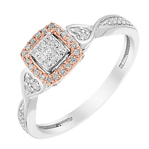 9ct White & Rose Gold 1/5 Carat Square Diamond Cluster Ring - Product number 2988739