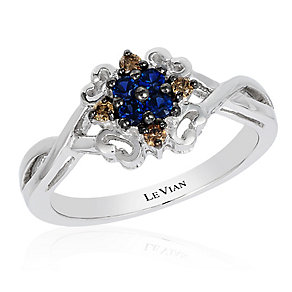 14ct Vanilla Gold Blueberry Sapphire & Diamond Ring - Product number 2989050
