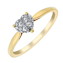 9ct Yellow Gold Heart Shaped Diamond Cluster Ring - Product number 2989360