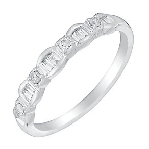 9ct White Gold Round & Baguette Cut Diamond Eternity - Product number 2989565