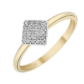 9ct Yellow Gold Twist Diamond Cluster Ring - Product number 2989840