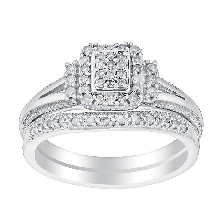 Argentium Silver 1/4 Carat Perfect Fit Bridal Set - Product number 2989972