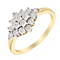 9ct Yellow Gold Vintage Inspired Diamond Cluster Ring - Product number 2991098