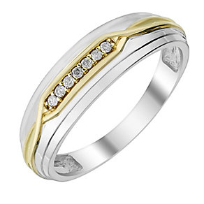 Perfect Fit Men's White & Yellow Gold Diamond Wedding Ring - Product number 2991225