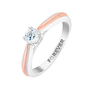 The Forever Diamond 18ct White & Rose Gold Diamond Ring - Product number 2991543