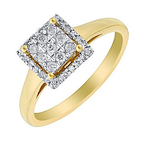 9ct Yellow Gold 1/5 Carat Square Diamond Cluster Ring - Product number 2991691