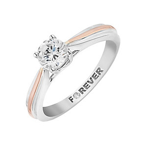 The Forever Diamond 18ct White & Rose Gold Diamond Ring - Product number 2992116
