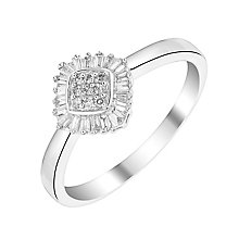 9ct White Gold Round & Baguette Cut Diamond Cluster Ring - Product number 2992264