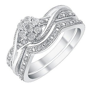 Perfect Fit 9ct White Gold Flower Diamond Cluster Bridal ...