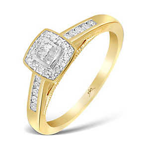 9ct Yellow Gold 1/4 Carat Princessa Diamond Cluster Ring - Product number 2993198