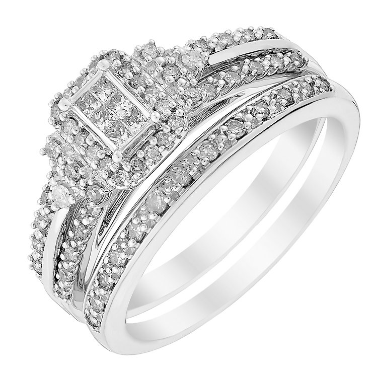 Perfect Fit 9ct White Gold Princess Cut Diamond Bridal Set - Product number 2993325