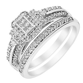Perfect Fit 9ct White Gold Princessa Diamond Bridal Set - Product number 2993325