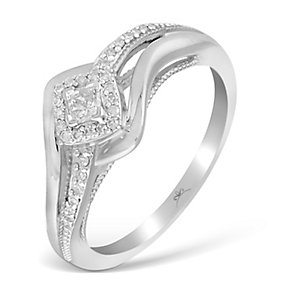 9ct White Gold 1/5 Carat Wrap Princessa Diamond Cluster Ring - Product number 2993457
