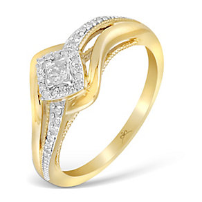 9ct Yellow Gold Wrap Princessa Diamond Cluster Ring - Product number 2993724