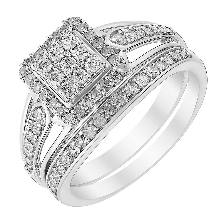 Perfect Fit Half Carat Diamond Square Cluster Bridal Set - Product number 2993856
