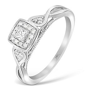 9ct White Gold Princessa Diamond Cluster Crossover Ring - Product number 2993988