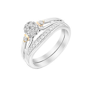 Perfect Fit Signature 9ct White & Rose Gold Cluster Bridal - Product number 2994135