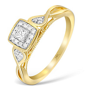 9ct Yellow Gold Princessa Diamond Cluster Crossover Ring - Product number 2994402