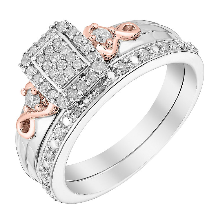 Perfect Fit Signature 9ct White & Rose Gold 1/4 Bridal Set - Product number 2994585