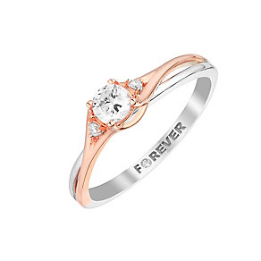 The Forever Diamond 18ct White & Rose Gold Diamond Ring - Product number 2994712