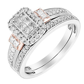 9ct White & Rose Gold 1/2 Carat Diamond Cluster Bridal Set - Product number 2994879