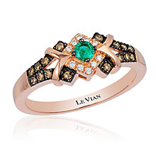 14ct Strawberry Gold Costa Smeralda Emerald & Diamond Ring - Product number 2995018