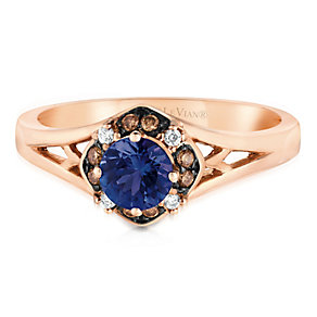 14ct Strawberry Gold Blueberry Tanzanite & Diamond Ring - Product number 2995670