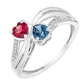 Argentium Silver Diamond Garnet & London Blue Topaz Ring - Product number 2996065