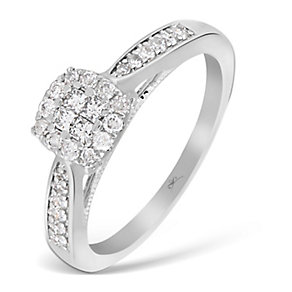9ct White Gold 1/3 Carat Princessa Diamond Cluster Ring - Product number 2996936