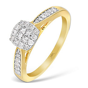 9ct Yellow Gold 1/3 Carat Princessa Diamond Cluster Ring - Product number 2997053