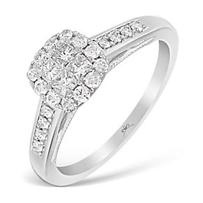 9ct White Gold 1/2 Carat Princessa Diamond Cluster Ring - Product number 2997207