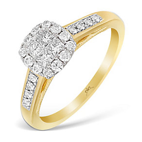 9ct Yellow Gold 1/2 Carat Princessa Diamond Cluster Ring - Product number 2997347