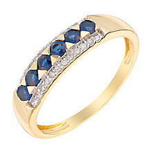 9ct Yellow Gold Diamond & Sapphire Eternity Ring - Product number 2997630