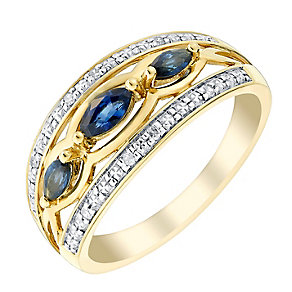 9ct Yellow Gold Diamond & Marquis Sapphire Eternity Ring - Product number 2997800