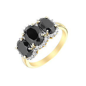 9ct Yellow Gold Three Stone Sapphire & Diamond Ring - Product number 2997975
