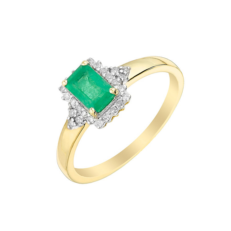 9ct Yellow Gold Rectangular Emerald & Diamond Ring - Product number 2998262