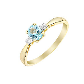9ct Yellow Gold Aquamarine & Diamond Ring - Product number 2998416