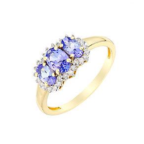 9ct Yellow Gold Three Stone Tanzanite & Diamond Ring - Product number 2998831