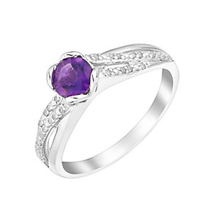 Sterling Silver Diamond & Amethyst Embrace Ring - Product number 2999137