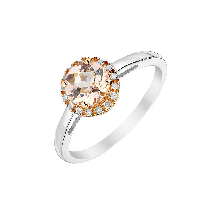 Silver & 9ct Rose Gold Morganite & Diamond Ring - Product number 2999277