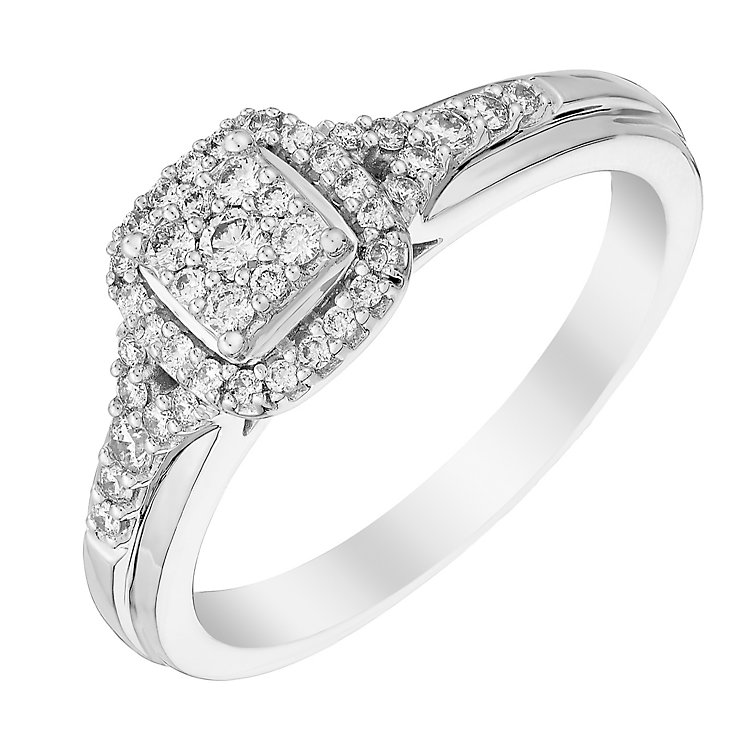 Perfect Fit 18ct White Gold Square Diamond Cluster Ring - Product number 2999404