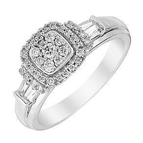 Perfect Fit 18ct White Gold Square Diamond Cluster Ring - Product number 3000052